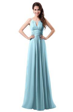 Colsbm Daisy Aqua Simple Column Scoop Chiffon Ruching Bridesmaid Dresses