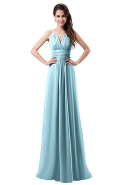 ColsBM Daisy Aqua Simple Column Scoop Chiffon Ruching Bridesmaid Dresses