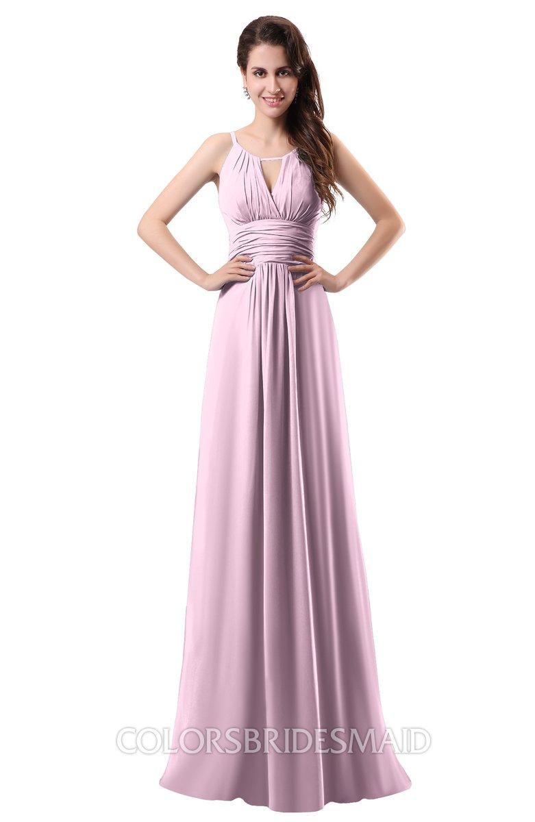 Colsbm Daisy Baby Pink Simple Column Scoop Chiffon Ruching Bridesmaid Dresses