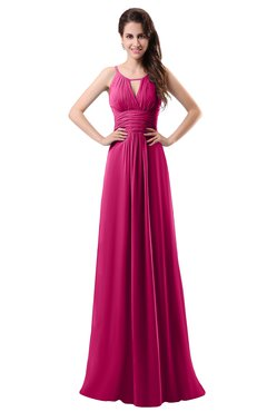 ColsBM Daisy Beetroot Purple Simple Column Scoop Chiffon Ruching Bridesmaid Dresses