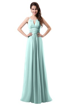 ColsBM Daisy Blue Glass Simple Column Scoop Chiffon Ruching Bridesmaid Dresses
