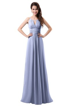 ColsBM Daisy Blue Heron Simple Column Scoop Chiffon Ruching Bridesmaid Dresses