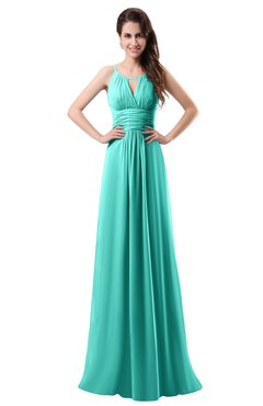 ColsBM Daisy Blue Turquoise Simple Column Scoop Chiffon Ruching Bridesmaid Dresses
