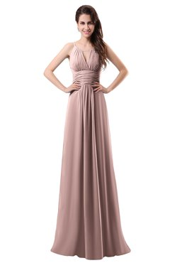 ColsBM Daisy Blush Pink Simple Column Scoop Chiffon Ruching Bridesmaid Dresses