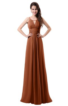ColsBM Daisy Bombay Brown Simple Column Scoop Chiffon Ruching Bridesmaid Dresses