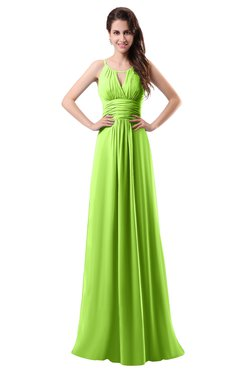 ColsBM Daisy Bright Green Simple Column Scoop Chiffon Ruching Bridesmaid Dresses