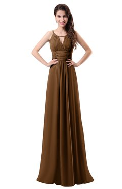 ColsBM Daisy Brown Simple Column Scoop Chiffon Ruching Bridesmaid Dresses