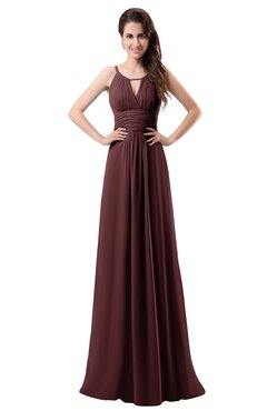 ColsBM Daisy Fired Brick Simple Column Scoop Chiffon Ruching Bridesmaid Dresses