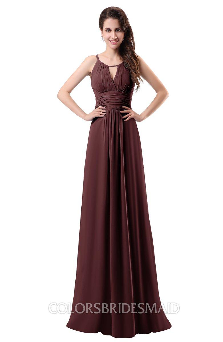5019f5c88a4 ColsBM Daisy Burgundy Simple Column Scoop Chiffon Ruching Bridesmaid Dresses