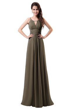 ColsBM Daisy Carafe Brown Simple Column Scoop Chiffon Ruching Bridesmaid Dresses