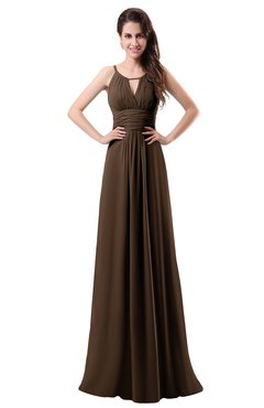 ColsBM Daisy Chocolate Brown Simple Column Scoop Chiffon Ruching Bridesmaid Dresses