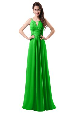 ColsBM Daisy Classic Green Simple Column Scoop Chiffon Ruching Bridesmaid Dresses