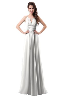 ColsBM Daisy Cloud White Simple Column Scoop Chiffon Ruching Bridesmaid Dresses