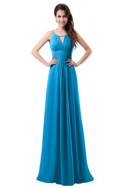 ColsBM Daisy Cornflower Blue Simple Column Scoop Chiffon Ruching Bridesmaid Dresses