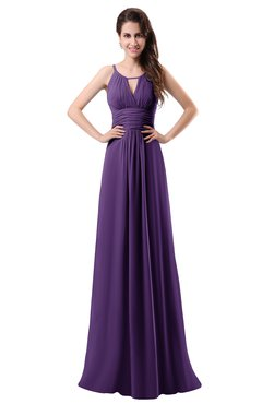 ColsBM Daisy Dark Purple Simple Column Scoop Chiffon Ruching Bridesmaid Dresses