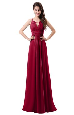 ColsBM Daisy Dark Red Simple Column Scoop Chiffon Ruching Bridesmaid Dresses