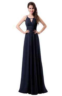 ColsBM Daisy Dark Sapphire Simple Column Scoop Chiffon Ruching Bridesmaid Dresses