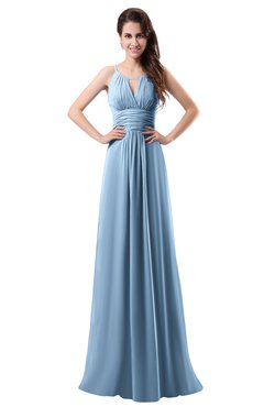 ColsBM Daisy Dusty Blue Simple Column Scoop Chiffon Ruching Bridesmaid Dresses