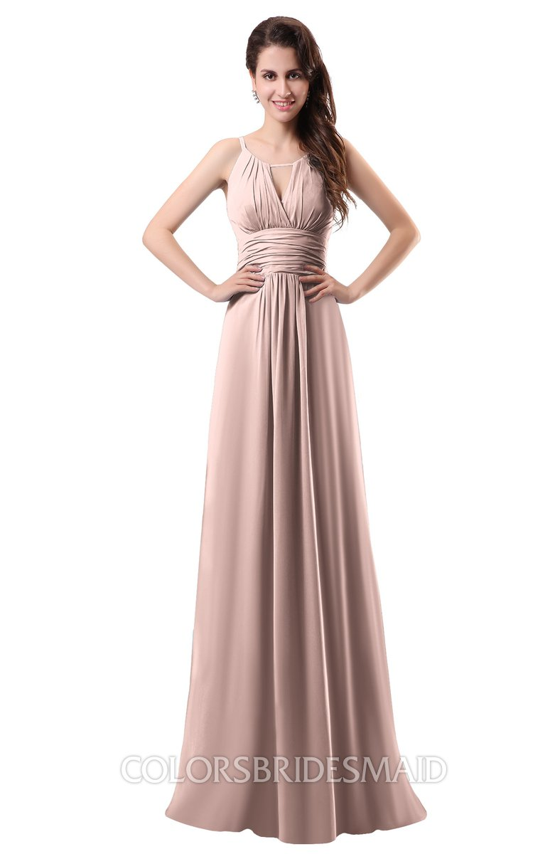 25239f176d ColsBM Daisy Dusty Rose Simple Column Scoop Chiffon Ruching Bridesmaid  Dresses