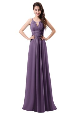 ColsBM Daisy Eggplant Simple Column Scoop Chiffon Ruching Bridesmaid Dresses