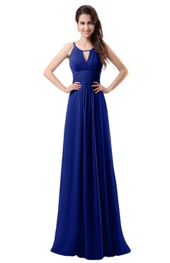 ColsBM Daisy Electric Blue Simple Column Scoop Chiffon Ruching Bridesmaid Dresses