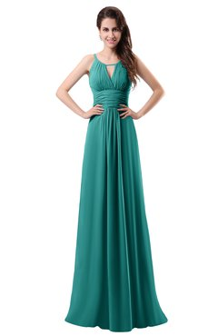 ColsBM Daisy Emerald Green Simple Column Scoop Chiffon Ruching Bridesmaid Dresses
