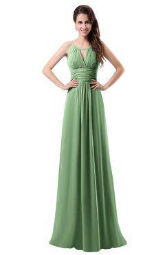 ColsBM Daisy Fair Green Simple Column Scoop Chiffon Ruching Bridesmaid Dresses