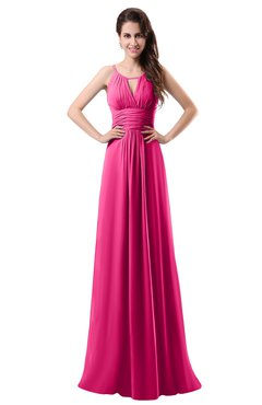 ColsBM Daisy Fandango Pink Simple Column Scoop Chiffon Ruching Bridesmaid Dresses