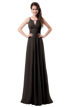 ColsBM Daisy Fudge Brown Simple Column Scoop Chiffon Ruching Bridesmaid Dresses