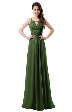 ColsBM Daisy Garden Green Simple Column Scoop Chiffon Ruching Bridesmaid Dresses