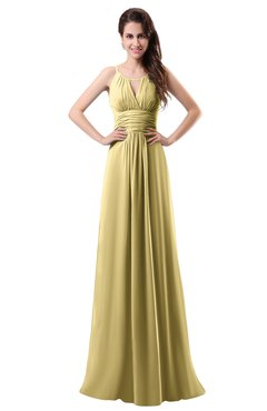 ColsBM Daisy Gold Simple Column Scoop Chiffon Ruching Bridesmaid Dresses