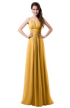 ColsBM Daisy Golden Cream Simple Column Scoop Chiffon Ruching Bridesmaid Dresses