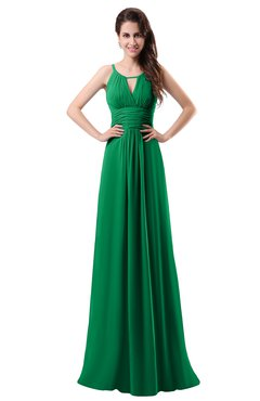 ColsBM Daisy Green Simple Column Scoop Chiffon Ruching Bridesmaid Dresses