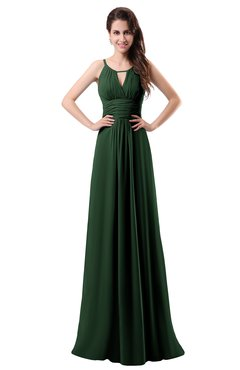 ColsBM Daisy Hunter Green Simple Column Scoop Chiffon Ruching Bridesmaid Dresses