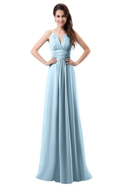ColsBM Daisy Ice Blue Simple Column Scoop Chiffon Ruching Bridesmaid Dresses