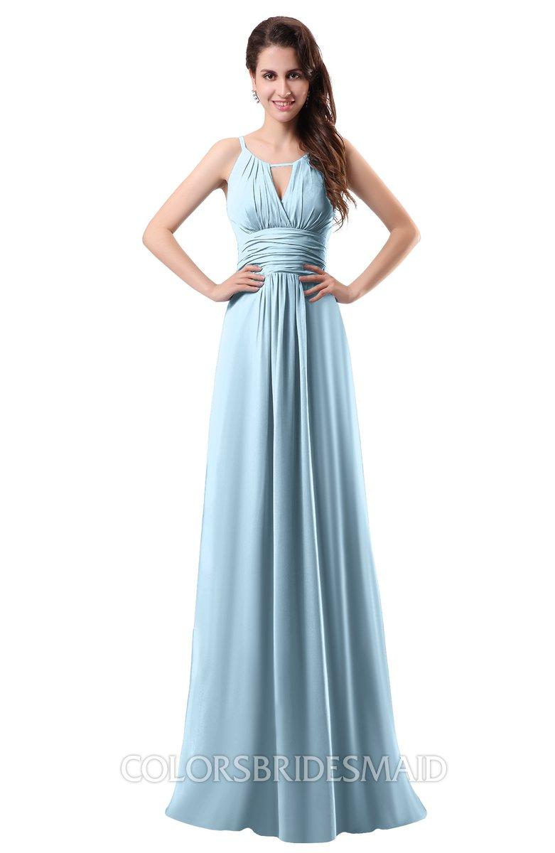 ice blue simple column scoop chiffon ruching bridesmaid