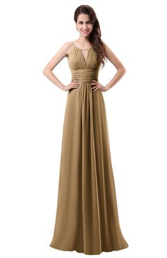 ColsBM Daisy Indian Tan Simple Column Scoop Chiffon Ruching Bridesmaid Dresses