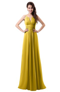 ColsBM Daisy Lemon Curry Simple Column Scoop Chiffon Ruching Bridesmaid Dresses