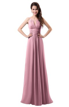 ColsBM Daisy Light Coral Simple Column Scoop Chiffon Ruching Bridesmaid Dresses
