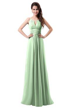 Colsbm Daisy Light Green Simple Column Scoop Chiffon Ruching Bridesmaid Dresses