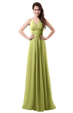 ColsBM Daisy Linden Green Simple Column Scoop Chiffon Ruching Bridesmaid Dresses