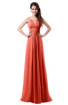 ColsBM Daisy Living Coral Simple Column Scoop Chiffon Ruching Bridesmaid Dresses