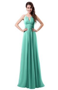 colsbm daisy mint green simple column scoop chiffon ruching bridesmaid dresses