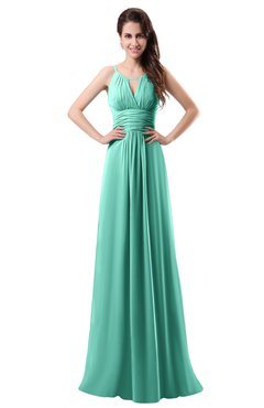 ColsBM Daisy Mint Green Simple Column Scoop Chiffon Ruching Bridesmaid Dresses
