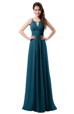 ColsBM Daisy Moroccan Blue Simple Column Scoop Chiffon Ruching Bridesmaid Dresses