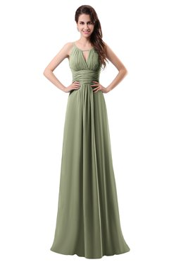 ColsBM Daisy Moss Green Simple Column Scoop Chiffon Ruching Bridesmaid Dresses
