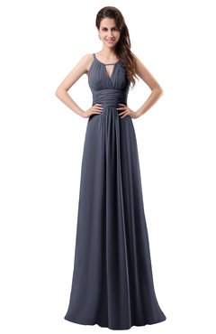 ColsBM Daisy Nightshadow Blue Simple Column Scoop Chiffon Ruching Bridesmaid Dresses