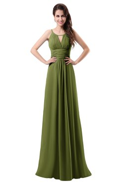ColsBM Daisy Olive Green Simple Column Scoop Chiffon Ruching Bridesmaid Dresses