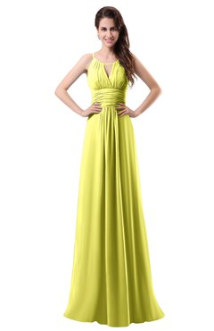 ColsBM Daisy Pale Yellow Simple Column Scoop Chiffon Ruching Bridesmaid Dresses