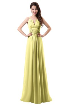 ColsBM Daisy Pastel Yellow Simple Column Scoop Chiffon Ruching Bridesmaid Dresses